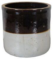"Antique Two Tone Brown & White Ceramic Stoneware Crock Jardinaire Planter Jar 7"""