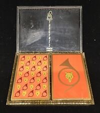 NEW 2 Decks Mid Century  Red Foxes Playing Cards 60s 70s Stancraft Glitter Case