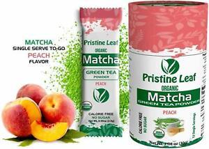 Organic Matcha Green Tea Powder | Peach Flavored | No Sugar | 12 Single Servings
