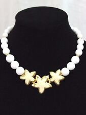 "Vintage Napier Goldtone Necklace Enamel Star Flower Lucite Beads Beige White 17"""