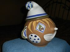 CIRCUS CLOWN COOKIE JAR VINTAGE MID CENTURY STUDIO POTTERY FOLK ART AMERICANA