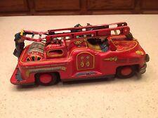 Vintage Tin Japan Fire Truck W/ Ladder Bell Ringer Tin Litho TN Nomura Brand
