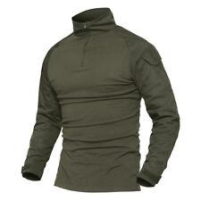 TACVASEN Tactical Zip Military Fire Retardant Combat Shirts Camo Army T-Shirts