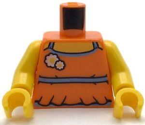 Lego New Orange Minifig Torso Halter Top Girl Medium Blue Trim Flowers Pattern