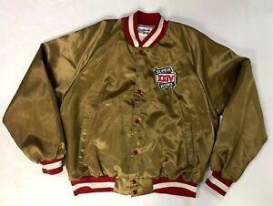 1989 Super Bowl XXIV Bomber Jacket NFL Football Chalk Line San Francisco 49ers