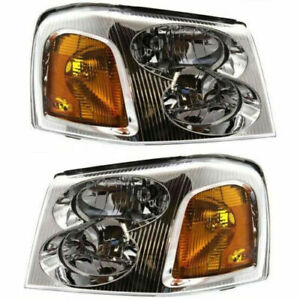 New Halogen Head Lamp Assembly Set of 2 Left & Right Side Fits GMC Envoy