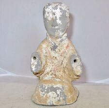 """Antique HAN Dynasty ? Chinese Clay Pottery Painted Buddha / Monk Statue  (6.8"""")"""