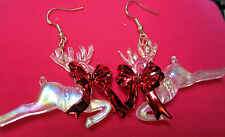 Unique PEARL WHITE Reindeer RED BOW 925 EARRINGS CHRISTMAS HANDCRAFTED nora winn