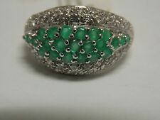 Cubic Zircon & Created Emerald Fashion Band on Silver 925