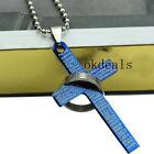 Nice Unisex's Men Silver Ring Blue Titanium Steel Cross Bible Pendant Necklace