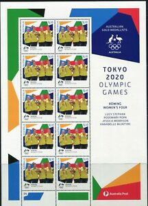 2021 Australia Tokyo Olympic Gold Medal Rowing Women's Four Sheetlet Of 10 MNH