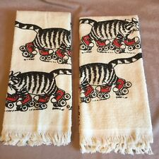 Pair Of New Vintage Kliban Cat Hand Towels Cat Roller Skating Red Shoes