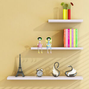 Set of 3 White Wooden Floating Wall Shelves Plant Book Storage Shelf Mountlder