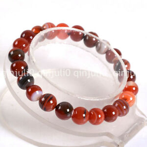Real Natural 10mm beautiful red striped agate Round Beads Gemstone Bracelet 7.5""