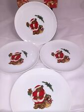 New Mikasa Christmas Bear Set Of 4 Salad Plate L5370 Santa Claus Sandy Lehman