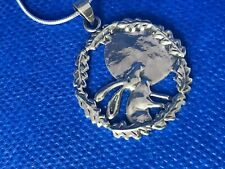 More details for hare oak leaves and moon pendant sterling silver   and snake chain .925