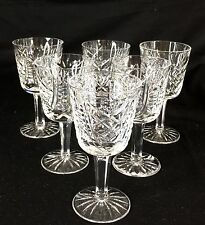 """Set of 6 Waterford Clare 4 1/4"""" Tall Wine Glasses / Water Goblets, Lead Crystal"""