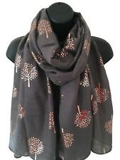 Ladies Women Rose Gold Mulberry Tree of Life Metallic Foil CHARCOAL GREY Scarf
