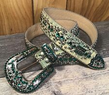 BB SIMON AQUA SWAROVSKI CRYSTAL SNAKESKIN ACID WASH LEATHER BELT XXL $520