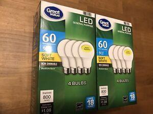 Flash Sale Great Value LED BULBS 2 PACKS (8 Bulbs) 60W EQ  9W Non-Dim Soft White