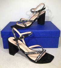 Stuart Weitzman Harlowe Women's Sz 5B Black Suede Beaded Sandal Pumps X4-877