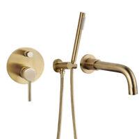 WELS Brushed Gold,Black Bathtub Mixer Tap Set Bath Filler Spout Handheld Shower