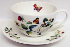 Strawberries & Butterflies Breakfast Cup Saucer Bone China Cappuccino Latte Set