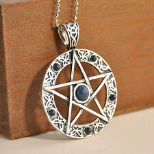 "Pentacle Pentagram Star Pewter Pendant with 20"" Choker Necklace Retro"