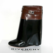 GIVENCHY PARIS fold over cuff black brown patent leather wedge heel boots 35 NEW