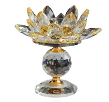 Crystal Lotus Flower Candle Holder Tealights Holder For Home Yellow