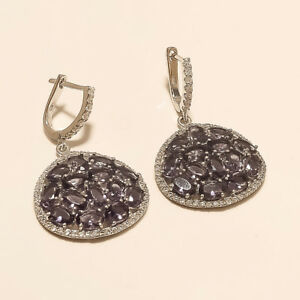 Natural Panorama Amethyst Earring 925 Sterling Silver Women Russian lock Jewelry
