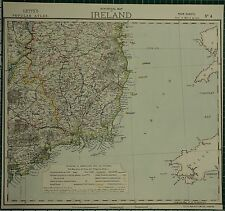 1883 LETTS MAP ~ IRELAND SOUTH EAST WATERFORD TIPPERARY WICKLOW LIGHTHOUSES