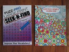 2 ADULT ACTIVITY BOOKS: GEOMETRICAL GROWN UP COLORING and LARGE SEEK & FIND NEW