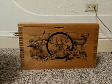 American Wildlife by Evans Wooden Hinged Lid Ammo Box Crate 16x10x8 Dovetail