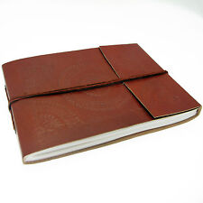 Fair Trade Handmade Medium Embossed Leather Photo Album Scrapbook 2nd Quality