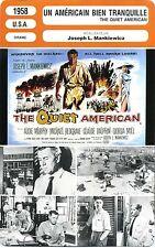 Movie Card. Fiche Cinéma. Un américain bien tranquille (USA) 1958 J.L Mankiewicz