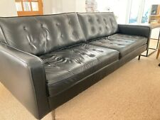 Black Leather Sofa, Mid Century Style made by Love-Your-Home