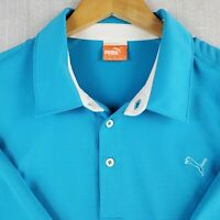 PUMA COOL-CELL Size XL Mens Sky Blue Golf Polo Shirt Breathable Stretchy Wicking
