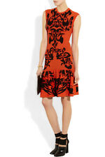 ICONIC McQ by Alexander McQueen  floral pattern coral/black skater skirt dress