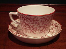 Antique 1880 Minton Fibre Red Seaweed Coral cup saucer seaweed