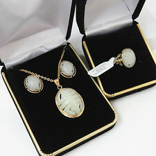 NYJEWEL 14k Yellow Gold New He Tian A Jade 壽 Necklace Ring Earrings