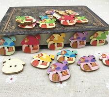 25pcs Wooden Cartoon buttons Mushroom house sewing scrapbooking buttons 25mm