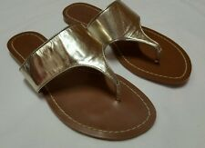 NEW $59 Women's Lauren Ralph Lauren Anaya Gold Leather Thong Sandal Size 6.5 B