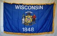 3x5 Wisconsin State Poly Nylon Sleeve w/ Gold Fringe Flag 3'x5' Banner