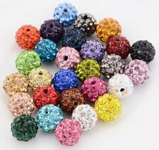 100pcs 10mm multicolor micro pave disco crystal shamballa beads bracelet spacer