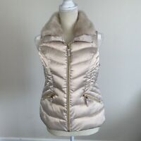 Charter Club Womens Petite Fur Collared Vest Brown Toffee Size Pet/Pet N112