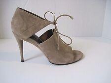 Alexander Wang ELLEN Cutout Round Toe Taupe Suede Sandals Heels Size 37 1/2