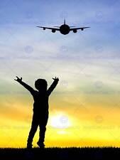 Photo mock up silhouette sunset avion kid art print poster MP3953B