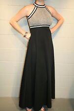 XS~S Silver Metallic Vtg 70s Empire Waist Long Black Knit Maxi Party Dress