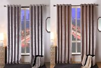 Crushed Faux Velvet Extra Heavy Soft Touch Pair Of Ring Top Lined Curtains